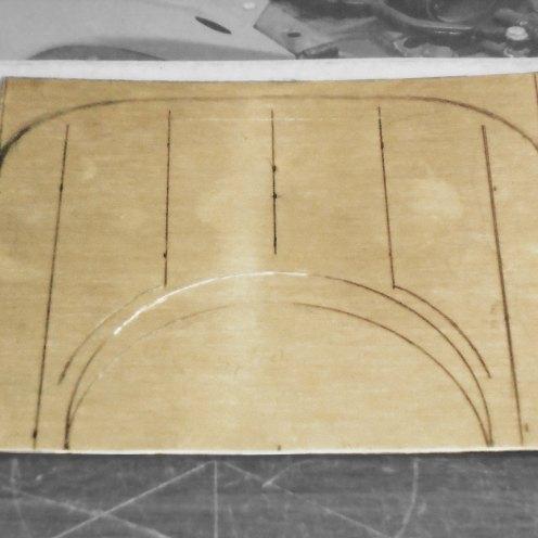 Dibujando el cortafuego. Bronce 0,5mm - Drawing the dash. Brass 0,50mm